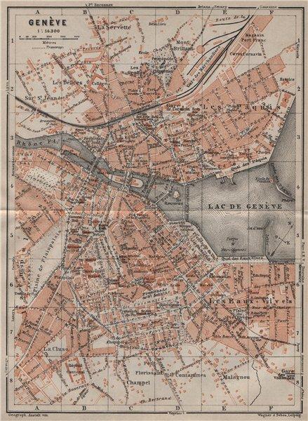 Associate Product GENEVA GENÈVE GENF. town city stadtplan. Switzerland Suisse Schweiz 1905 map