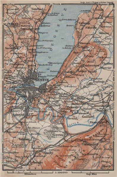 Associate Product GENEVA GENÈVE GENF ENVIRONS. Switzerland Suisse Schweiz carte karte 1905 map