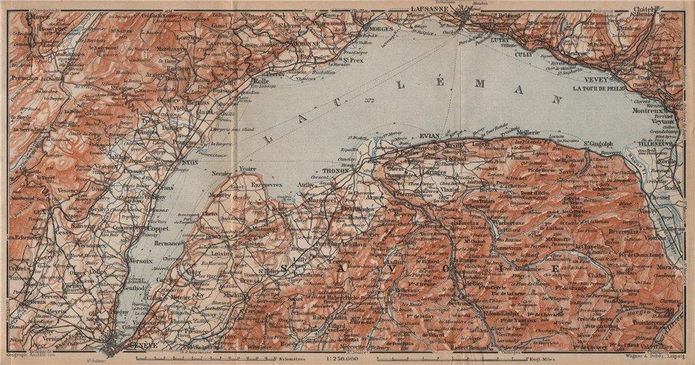 Associate Product LAKE GENEVA/LAC LÉMAN. St Cergue Chatel St Jean d'Aulph Lausanne Evian 1905 map