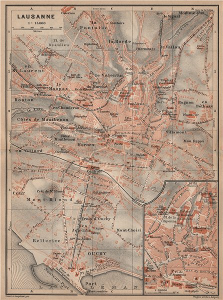 Associate Product LAUSANNE. town city stadtplan. Switzerland Suisse Schweiz carte karte 1905 map