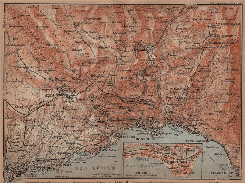Associate Product MONTREAUX AREA. Vevey Villneuve. Topo-map. Switzerland Suisse Schweiz 1905