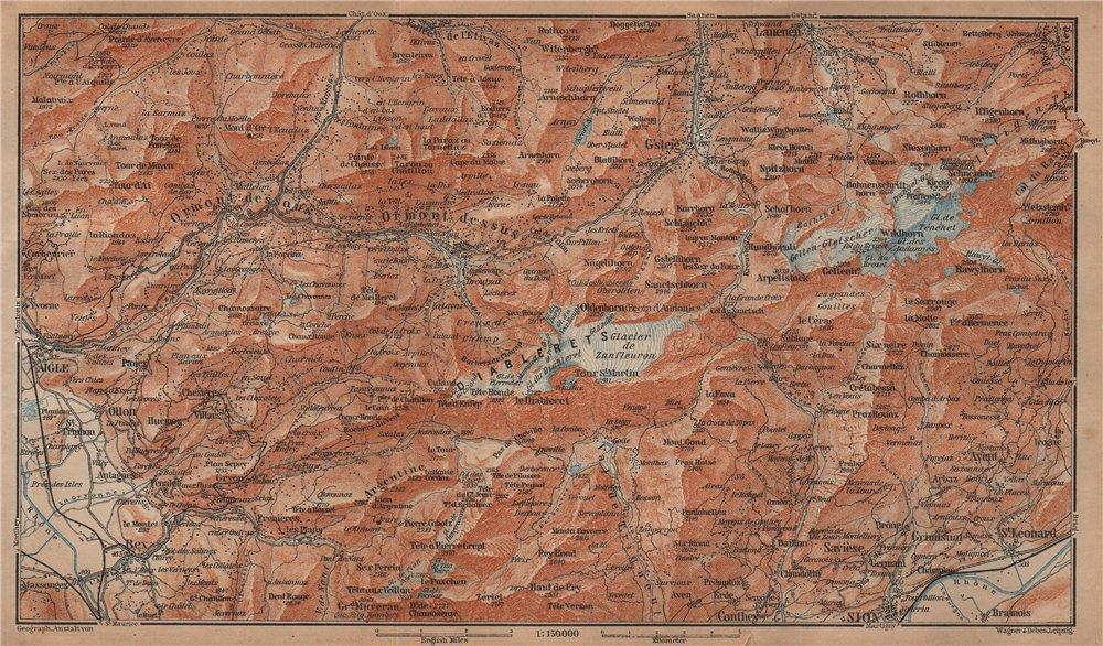 Associate Product AIGLE DISTRICT.Les Diablerets Villars Gryon Leysin Les Mosses Ormont 1905 map