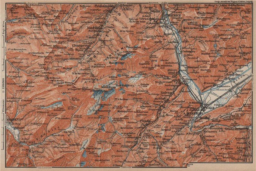 Associate Product VAL D'ILLIEZ/DENT DU MIDI.Champéry Samoëns Avoriaz Morzinette Martigny 1905 map