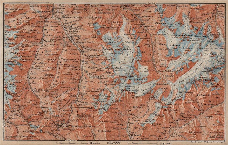 Associate Product GRAND ST BERNARD ENVIRONS Arolla Grand Combin Massif Orsières Mt Velan 1905 map