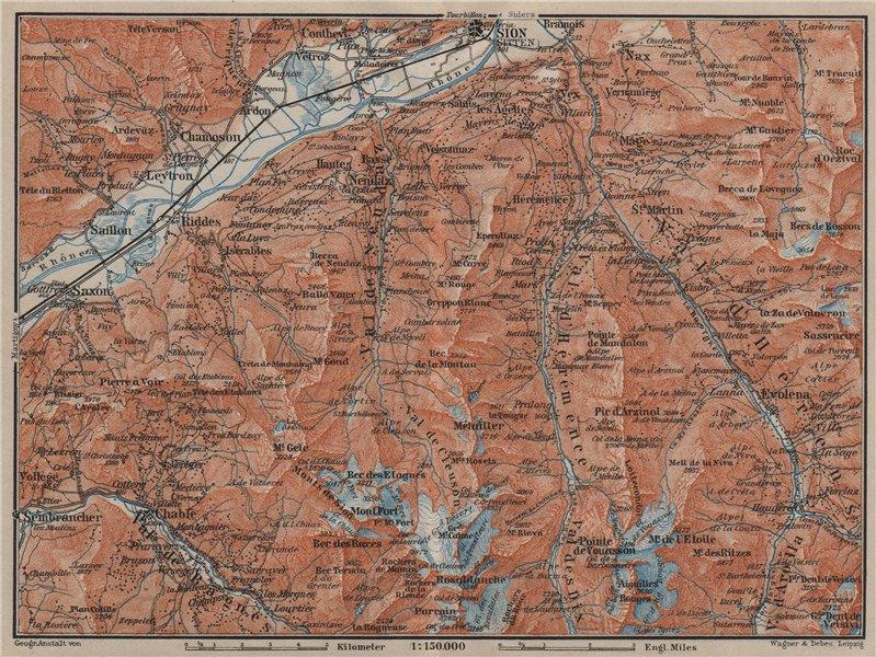 Associate Product Area south of SION. Verbier Riddes Nendaz Veysonnaz Hérens Entremont 1905 map