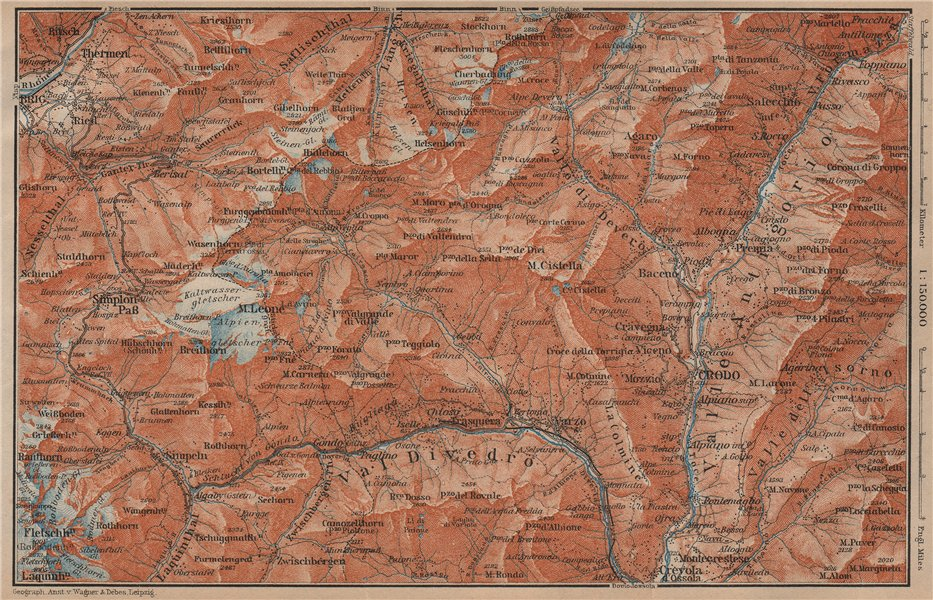 Associate Product SIMPLON PASS & VAL ANTIGORIO. Thermen Val Divedro Crodo Agaro Topo-map 1905
