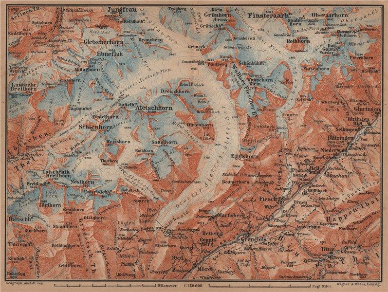 Associate Product ALETSCHHORN DISTRICT. Fiesch Mörel Jungfrau Nesthorn Grengiols 1905 old map