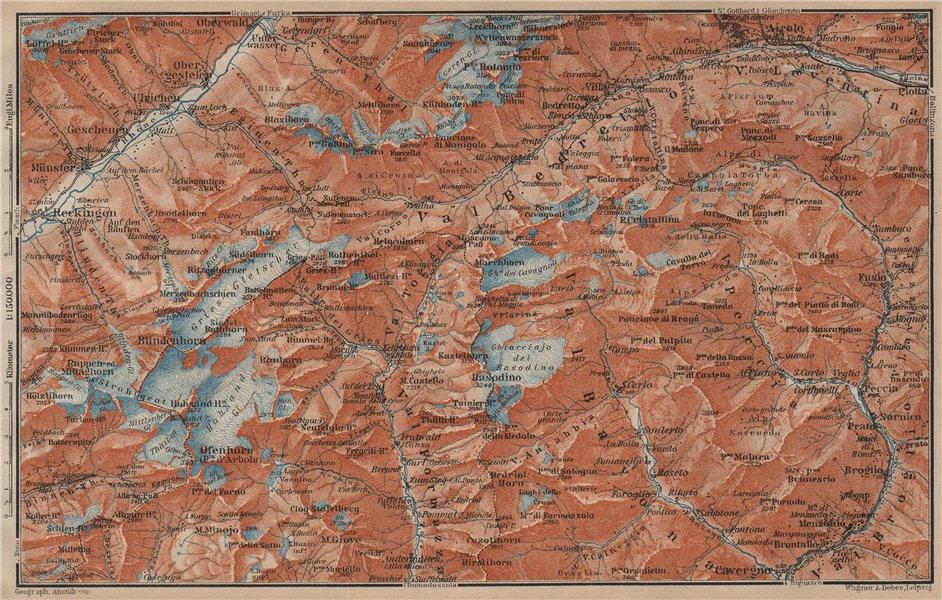 Associate Product GRIES PASS & NW TICINO ALPS. Val Bedretto Airolo Basodino Ofenhorn 1905 map