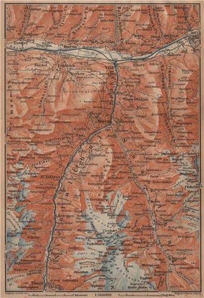 Associate Product STALDEN/SAAS-FEE AREA. Mischabel Group Grächen Dom Raron Randa Visp 1905 map