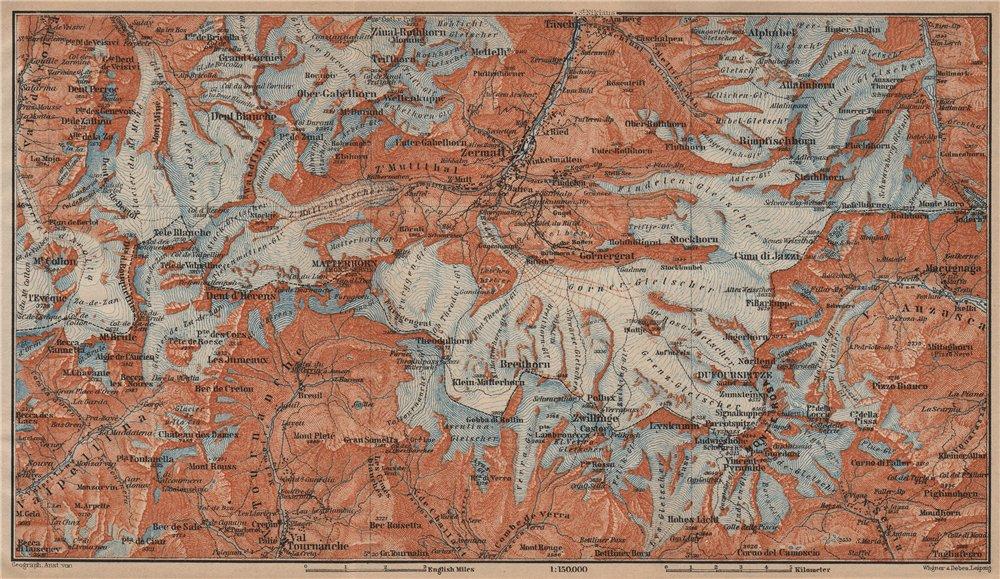 Associate Product ZERMATT ENVIRONS. Breuil-Cervinia Matterhorn Tournanche Monte Rosa 1905 map