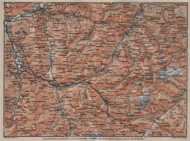 Associate Product GRAUBÜNDEN/ALBULA ALPS. Chur-Samedan. Arosa Lenz Davos Savognin Thusis 1905 map