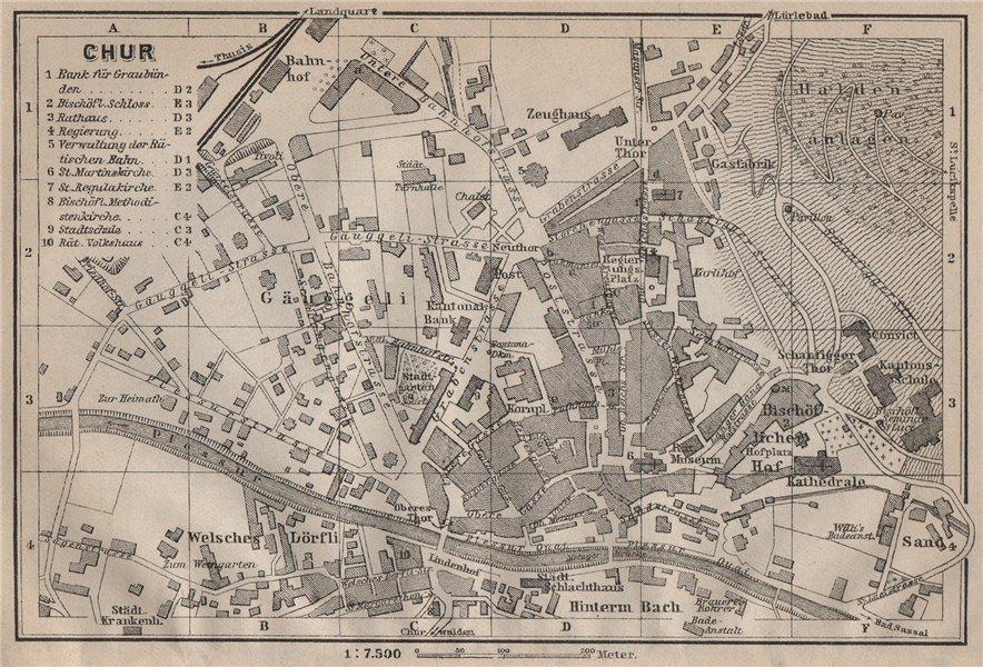 Associate Product COIRE / CHUR. Chur. town city stadtplan. Switzerland Suisse Schweiz 1905 map