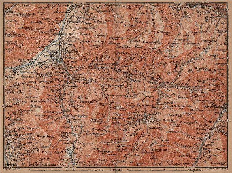 Associate Product COIRE/CHUR SCHANFIGG AROSA ENVIRONS. Davos Klosters Lenzheide Trimnns 1905 map