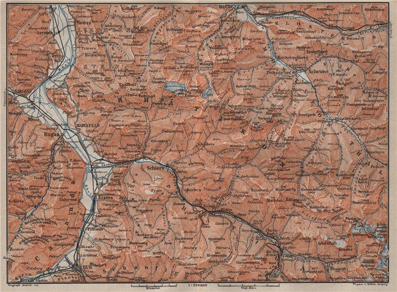 Associate Product BAD RAGAZ PRÄTIGAU MONTAFON ENVIRONS. Wangs Rätikon Bludenz Maienfeld 1905 map