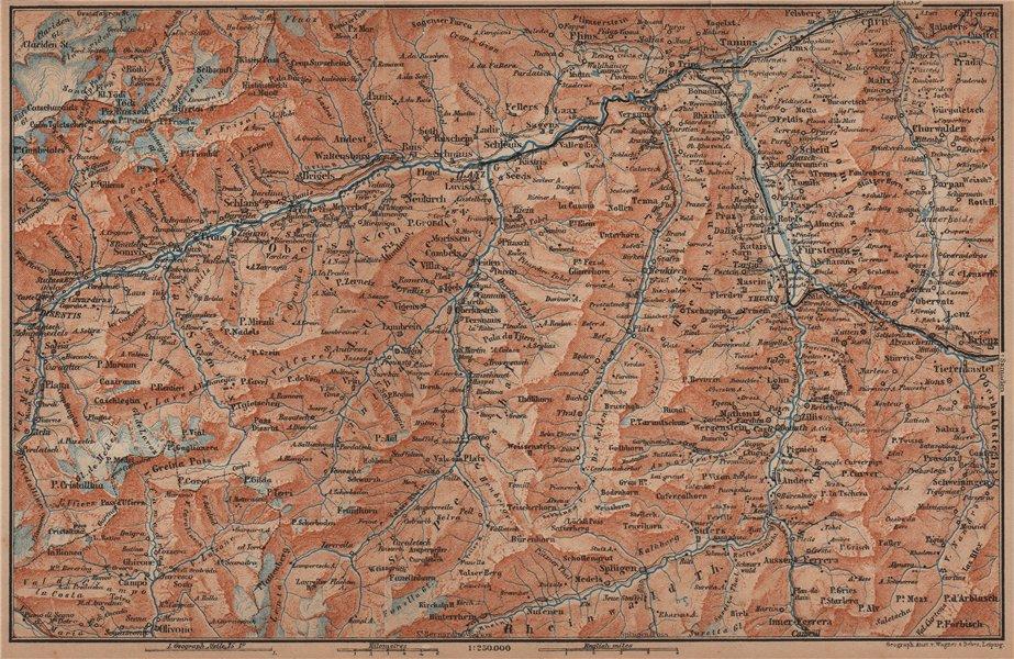 Associate Product VORDER-RHEINTHAL. Flims Laax Chur Obersaxen Tamins Brigels Thusis 1905 old map