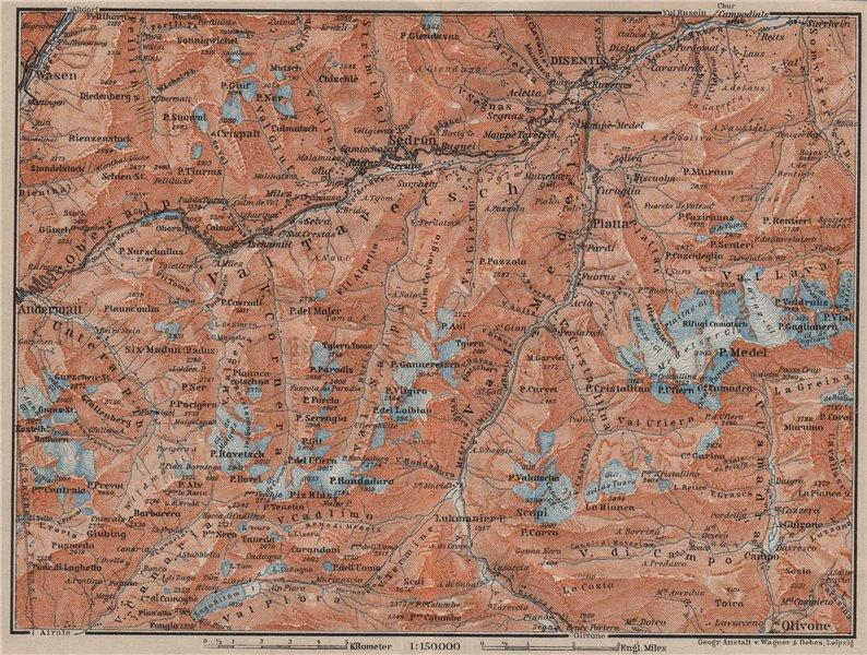 Associate Product VAL TAVETSCH/MEDEL. Andermatt Disentis Sedrun Wassen Piz Medel. Topo-map 1905