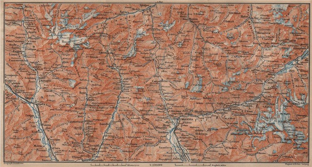 Associate Product LUKMANIER to MALOJA.Sils Maria Bivio Madesimo Chiavenna San Bernardino 1905 map