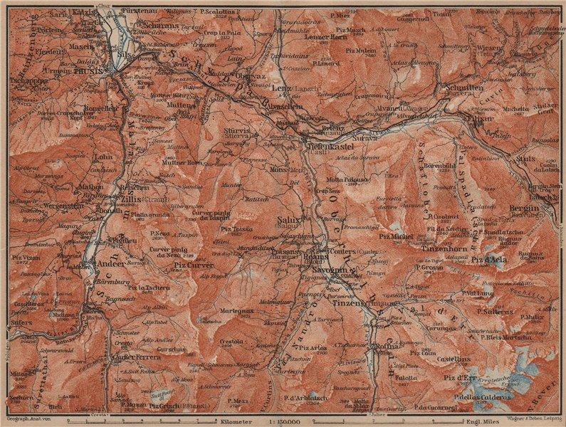 Associate Product ALBULA ALPS. Thusis Tiefenkastel Savognin Piz Ela/d'Err/Calderas Salux 1905 map