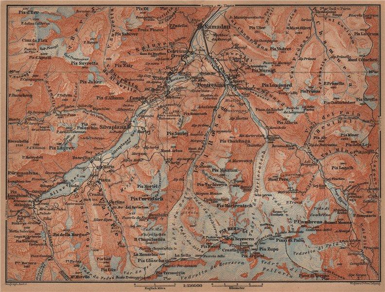Associate Product UPPER ENGADINE. St Moritz Celerina Pontresina Sils-Maria Bernina Range 1905 map