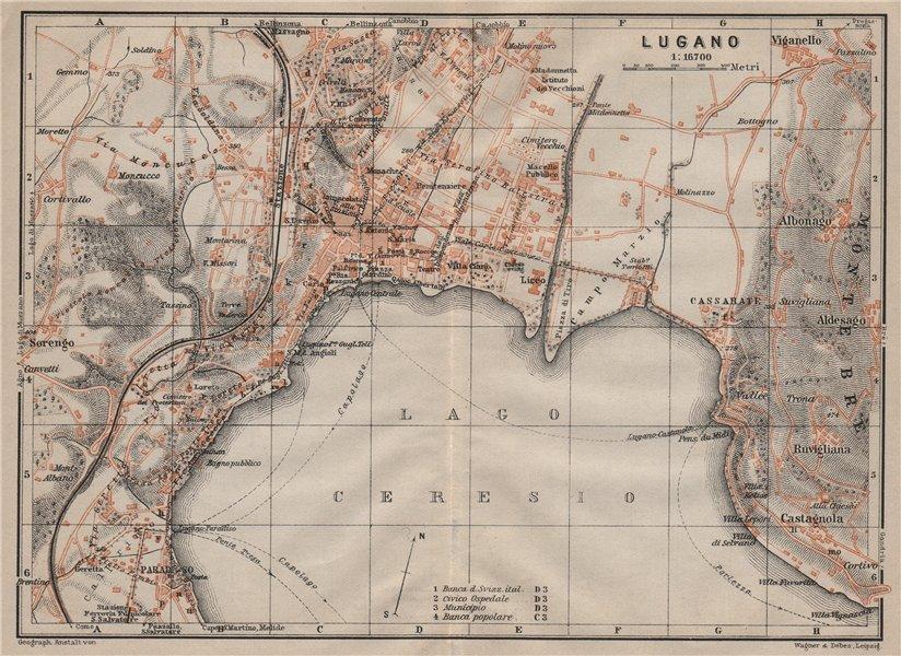 Associate Product LUGANO. town city stadtplan. Switzerland Suisse Schweiz carte karte 1905 map