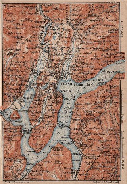Associate Product LUGANO ENVIRONS. Lake Lago di. Topo-map. Switzerland Suisse Schweiz 1905