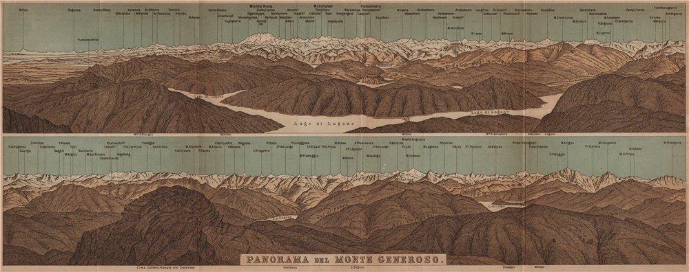 Associate Product MONTE GENEROSO PANORAMA. Lugano Como Maggiore Rosa Mischabel Disgrazia 1905 map