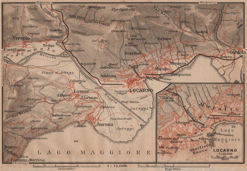 LOCARNO area. Losone Gordola Muralto Brione. Switzerland Suisse Schweiz 1905 map