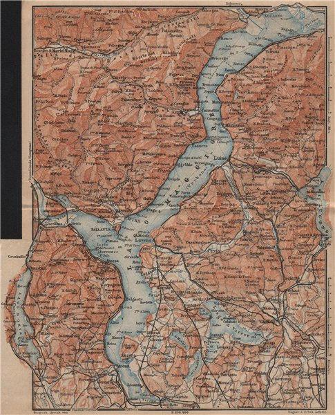 Associate Product LAGO MAGGIORE. Lake Maggiore. Varese Varesa Pallanza. Topo-map. Italy 1905