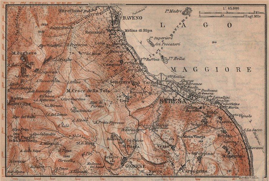 Associate Product STRESA ENVIRONS. Baveno Gignese. Italy mappa. BAEDEKER 1905 old antique
