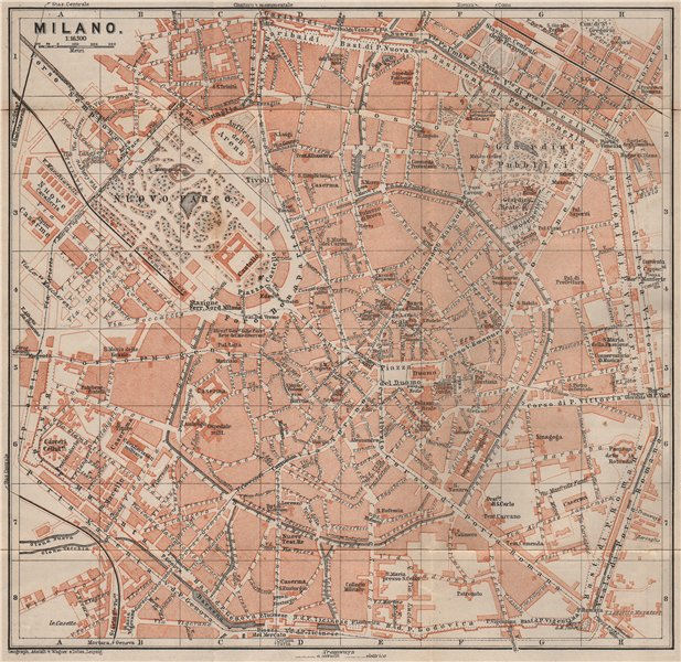 Associate Product MILAN MILANO. town city plan piano urbanistico. Italy mappa. BAEDEKER 1905