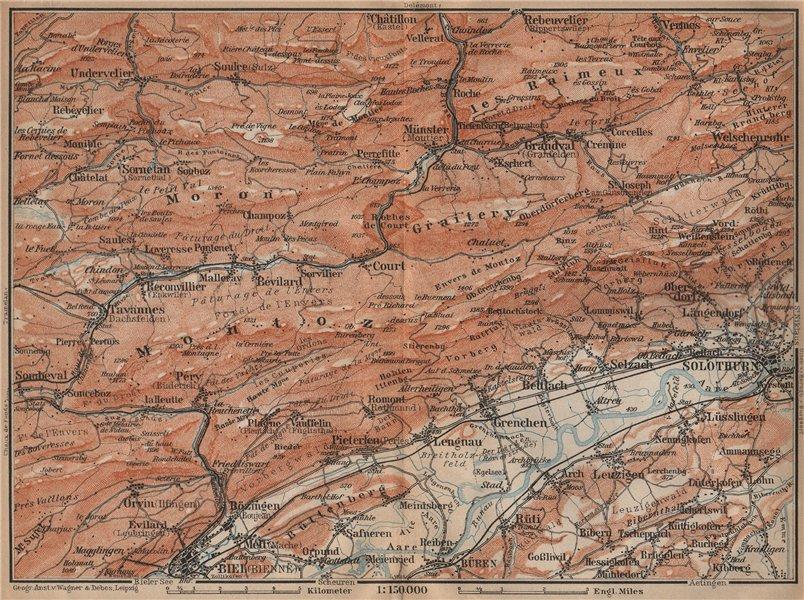 Associate Product BERNESE JURA. Solothurn Biel/Bienne Rebeuvelier Tavannes. Topo-map 1907