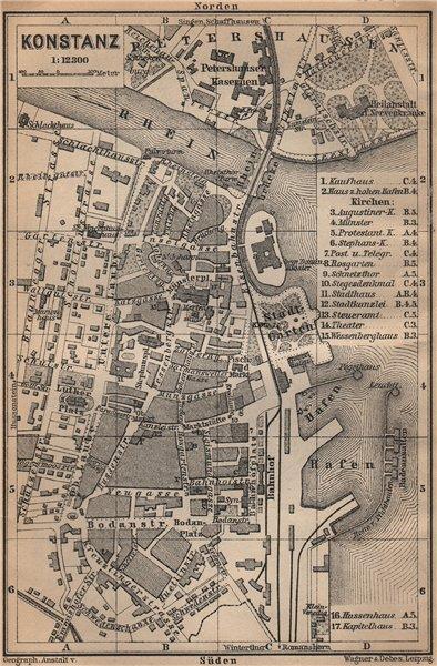 Associate Product CONSTANCE / KONSTANZ. town city stadt plan. Germany karte. BAEDEKER 1907 map