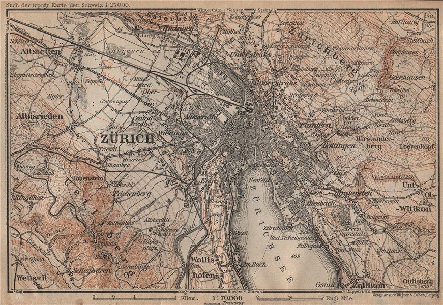 Associate Product ZÜRICH ENVIRONS. Zurich. Switzerland Suisse Schweiz carte karte 1907 old map