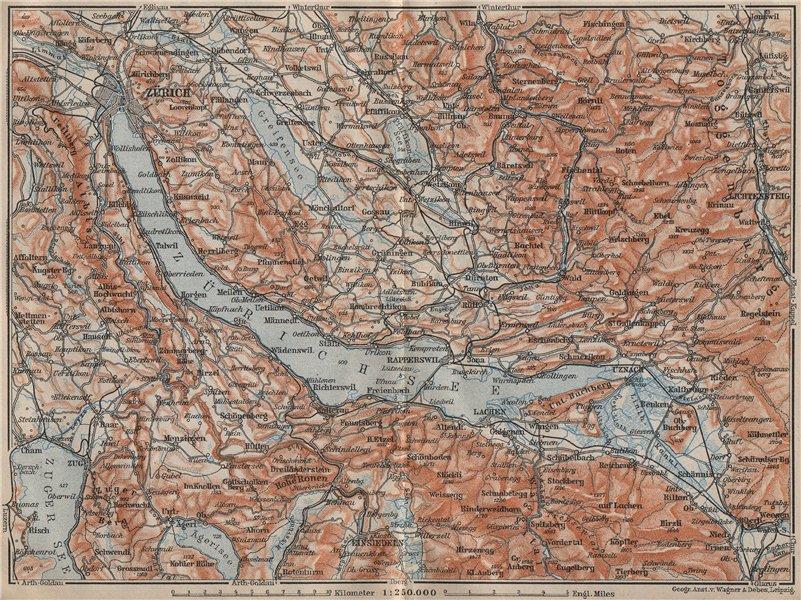 Associate Product LAKE ZÜRICH. Zuricher See Lachen Utznach.Topo-map. Switzerland Schweiz 1907