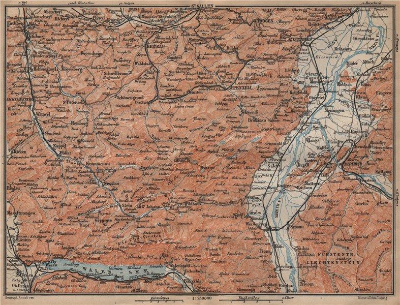 Associate Product APPENZELL CANTON. Wildhaus Unterwasser St. Gallen Trogen Walensee 1907 old map