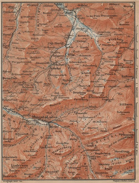 Associate Product MUOTATHAL PRAGEL & SIHLTAL. Silbern Liedernen (Kaiserstock) Iberg 1907 old map