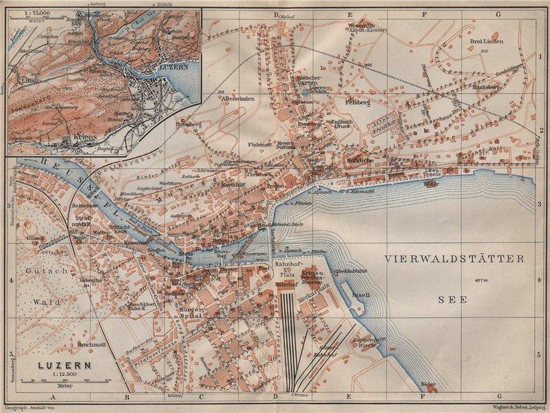 Associate Product LUCERNE LUZERN. town city stadtplan. Switzerland Suisse Schweiz 1907 old map