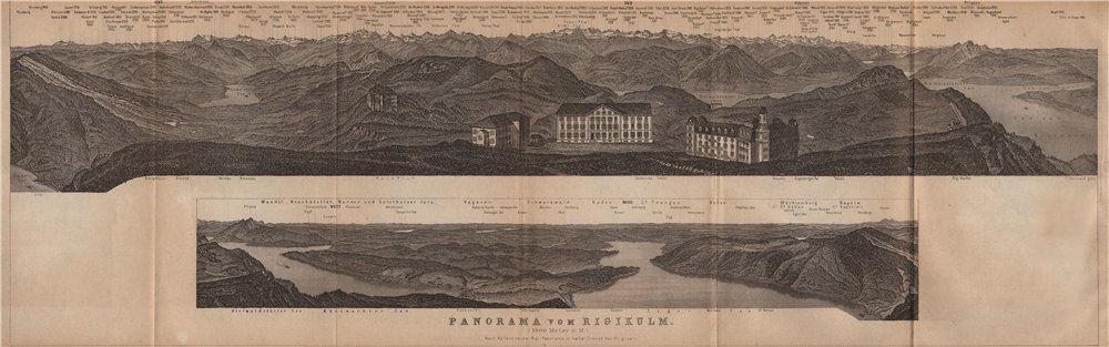 Associate Product PANORAMA from/von RIGIKULM 1800m. Küssnacht. Switzerland Schweiz 1907 old map