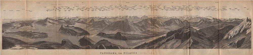 Associate Product PANORAMA from/von PILATUS. Vierwaldstättersee. Lake Lucerne. Schweiz 1907 map
