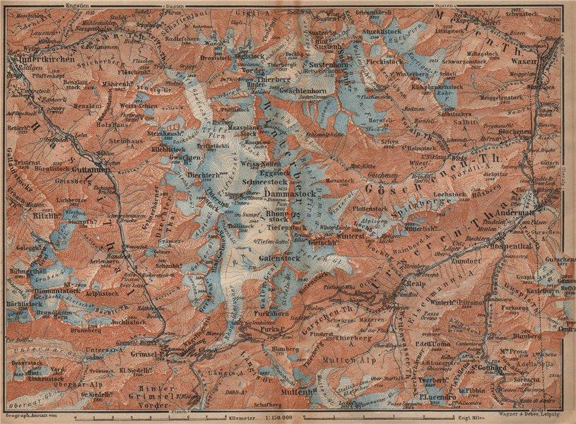 Associate Product URNER/URI ALPS. Trift district. Andermatt Innertkirchen Dammastock 1907 map