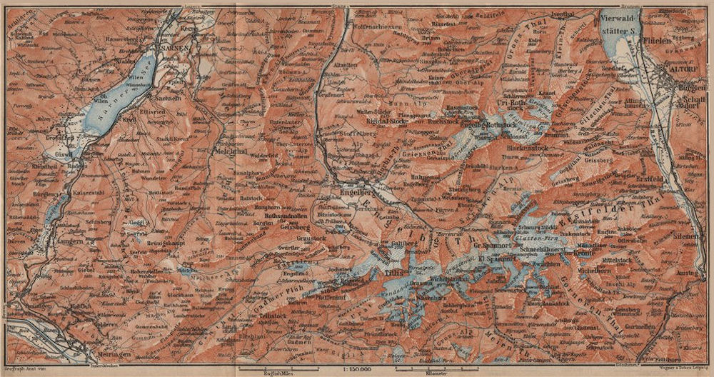 Associate Product ENGELBERG ENVIRONS. Uri/Urner Alps Titlis Blackenstock Sarnen Altorf 1907 map