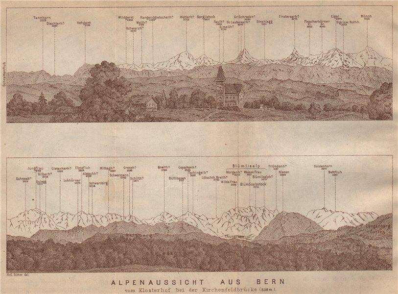 Associate Product PANORAMA vom/from BERN/Berne. Blumisalp Eiger Jungfrau Gletscherhorn 1907 map