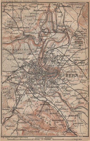 Associate Product BERN BERNE ENVIRONS. Switzerland Suisse Schweiz carte karte. BAEDEKER 1907 map