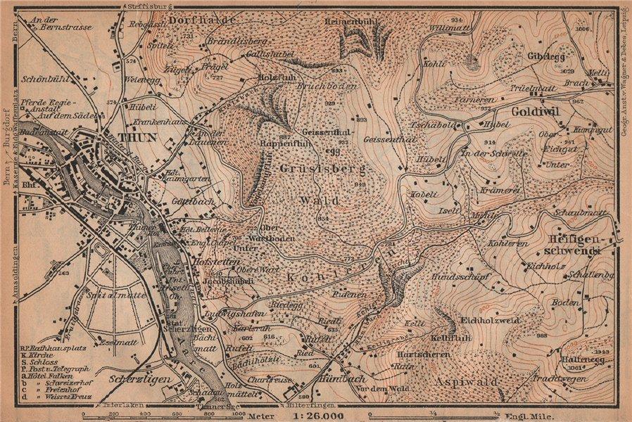 Associate Product THUN ENVIRONS. Goldiwyl. Switzerland Suisse Schweiz carte karte 1907 map