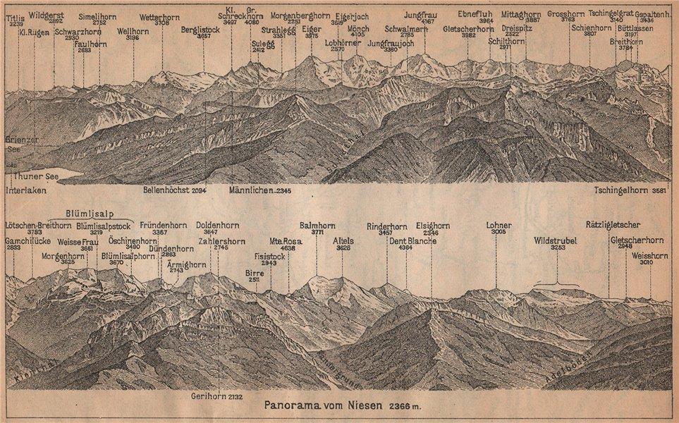 Associate Product PANORAMA from/von NIESEN 2366m. Blumisalp Jungfrau Switzerland Schweiz 1907 map