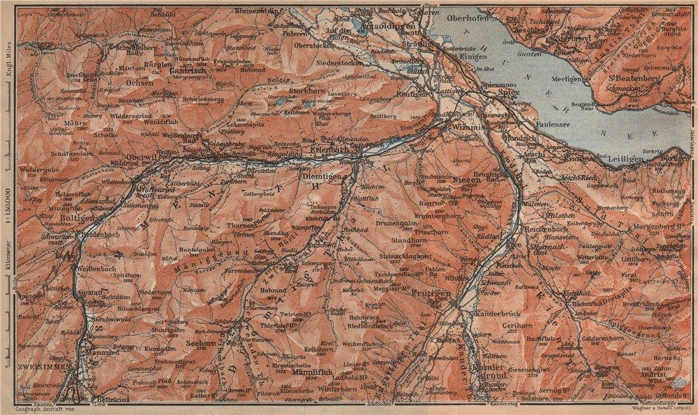 Associate Product THUNER SEE. SIMME/KANDER VALLEYS. Gantrisch Spiez Frutigen Oberwil 1907 map
