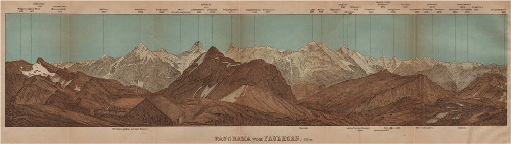 Associate Product PANORAMA from/vom FAULHORN. Berner Oberland. Bernese Oberland 1907 old map