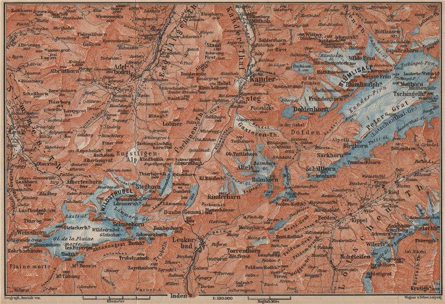 Associate Product KANDERSTEG area.Blumisalp Adelboden Wildstrubel Rinderhorn Torrenthorn 1907 map