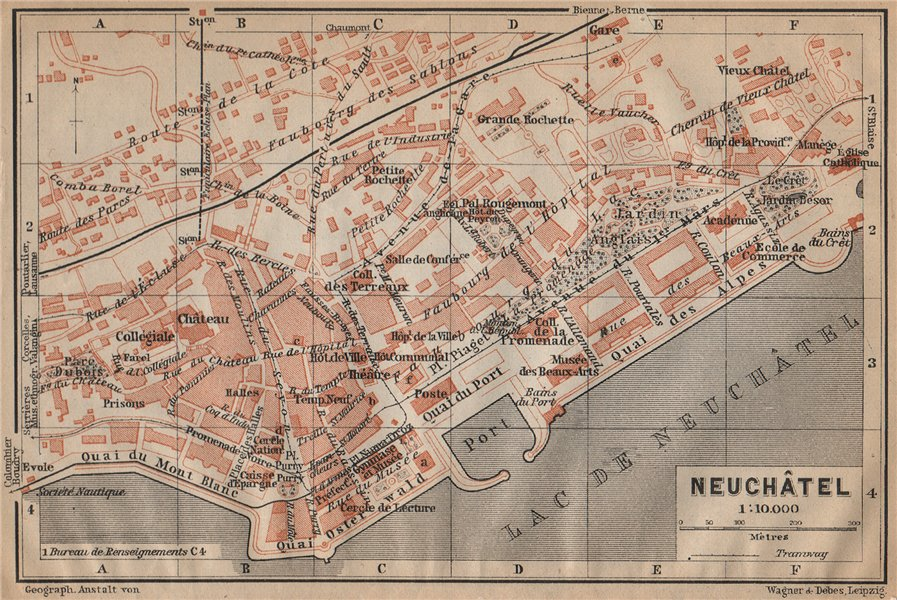 Associate Product NEUCHÂTEL / NEUENBURG. town city plan. Switzerland Suisse Schweiz 1907 old map
