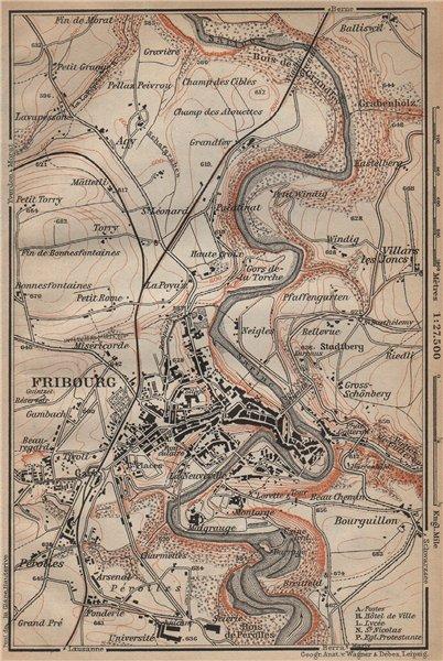 Associate Product FRIBOURG / FREIBURG ENVIRONS. Switzerland Suisse Schweiz carte karte 1907 map